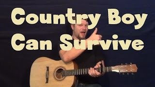 A Country Boy Can Survive (Hank Williams Jr.) Easy Strum Guitar Lesson - Chords How to Play Tutorial