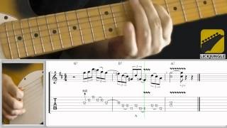 Texas blues shuffle lick - Eric Clapton style - slow - Contrasting large and small intervals