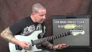 Guitar lesson John Petrucci inspired liks shred prog rock Dream Theater style on Charvel soloing
