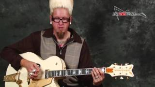 Learn Beginner Surf Rockabilly guitar lesson picking techniques and easy licks and rhythms