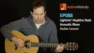 Lightnin' Hopkins Guitar Lesson - Acoustic Blues (with a pick) - EP088