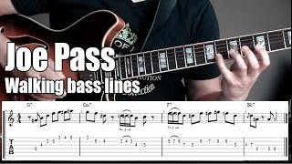 Joe Pass jazz guitar lesson # 1 | Guitar walking bass lines w/chords