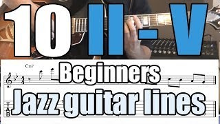 10 easy II-V jazz guitar licks with tabs | Lesson for beginners