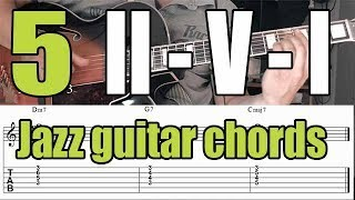 Jazz guitar chord voicings - II-V-I progression - 5 Exercises