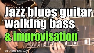 Jazz guitar walking bass and improvisation | Lesson with linked transcriptions