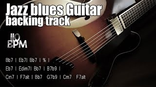 Jazz blues backing track for guitar (Bb7) | 110 BPM