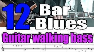 Blues jazz guitar walking bass comping - Mini lesson with tabs